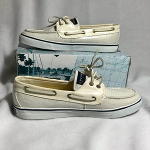 Sperry Top Sider Bost Shoes White Sequin Sz 10